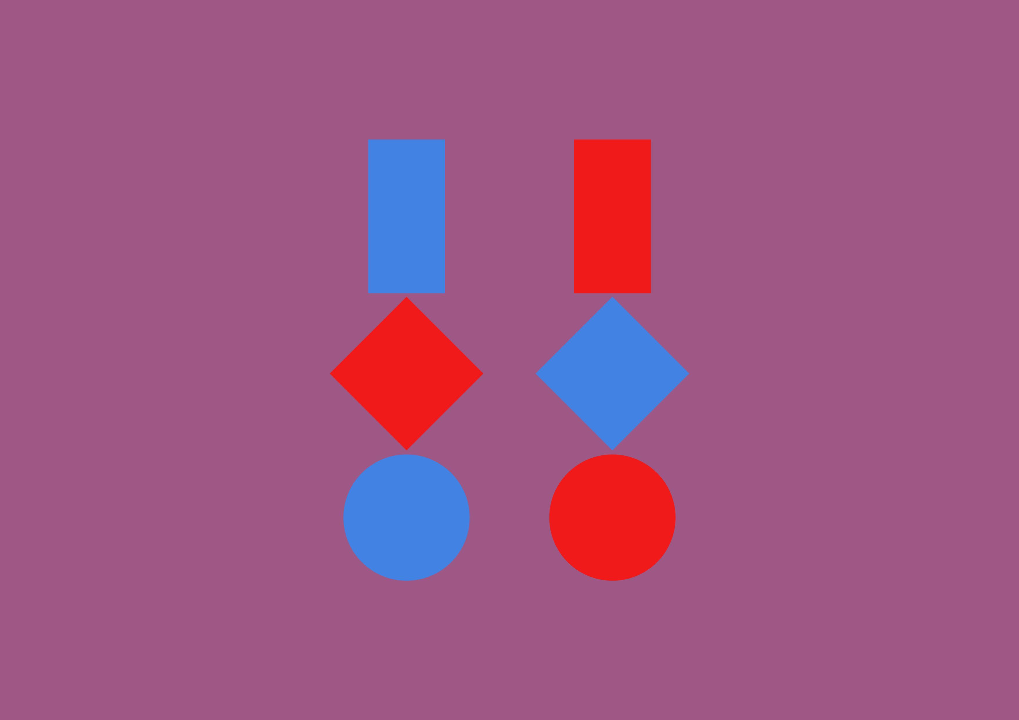 Drei geometrische Figuren · Blau und Rot · Mischfarbe als Hintergrund