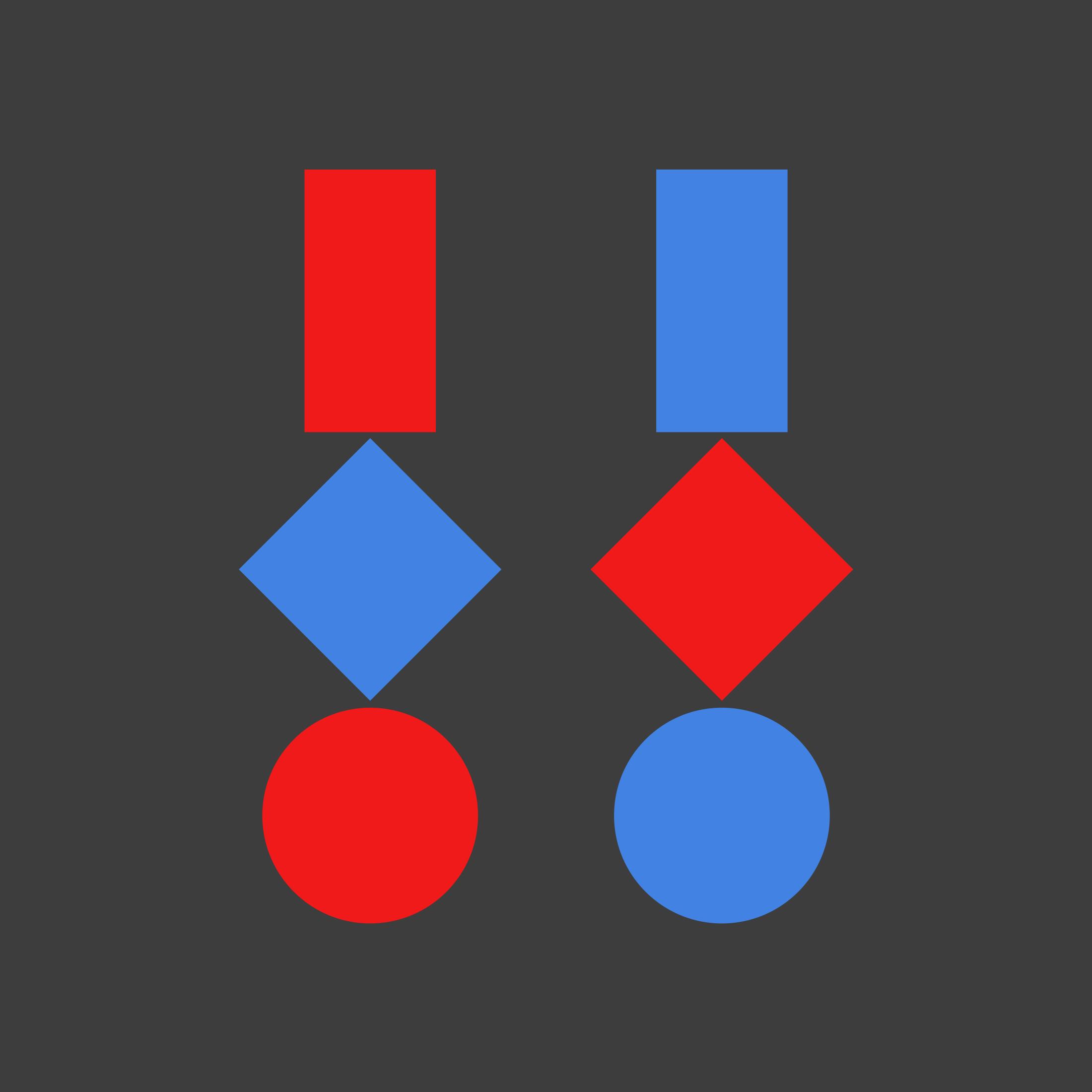 Drei geometrische Figuren · Dunkler Hintergrund