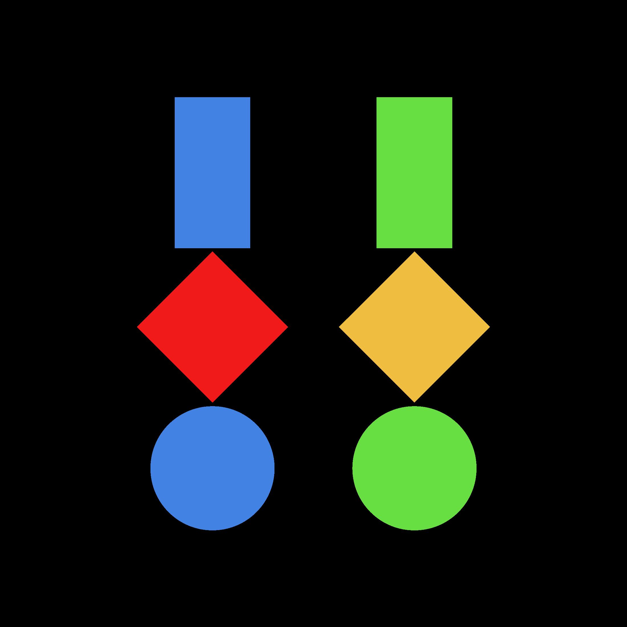 Drei geometrische Figuren · Farbmix 1 · Weißer Hintergrund