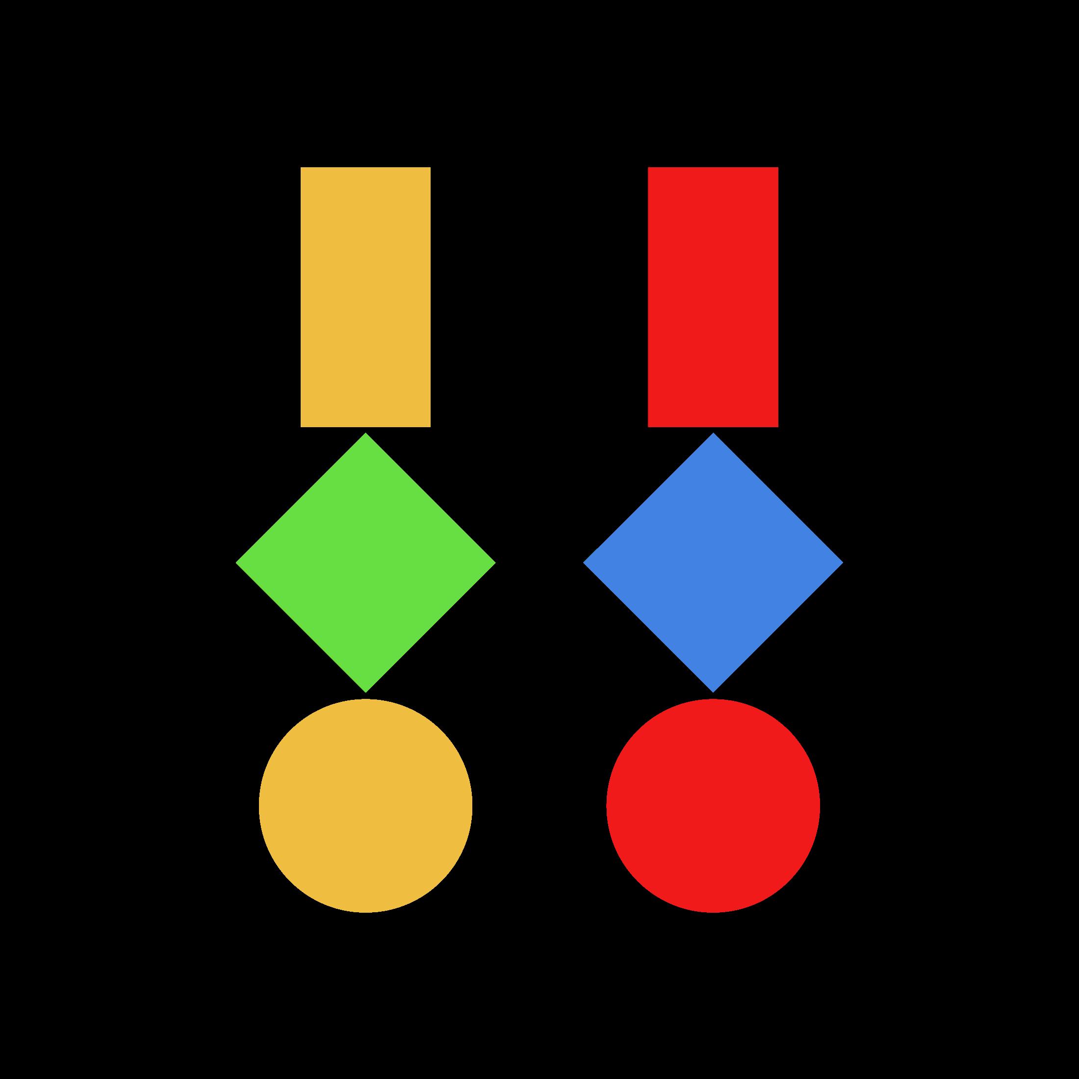 Drei geometrische Figuren · Farbmix 2
