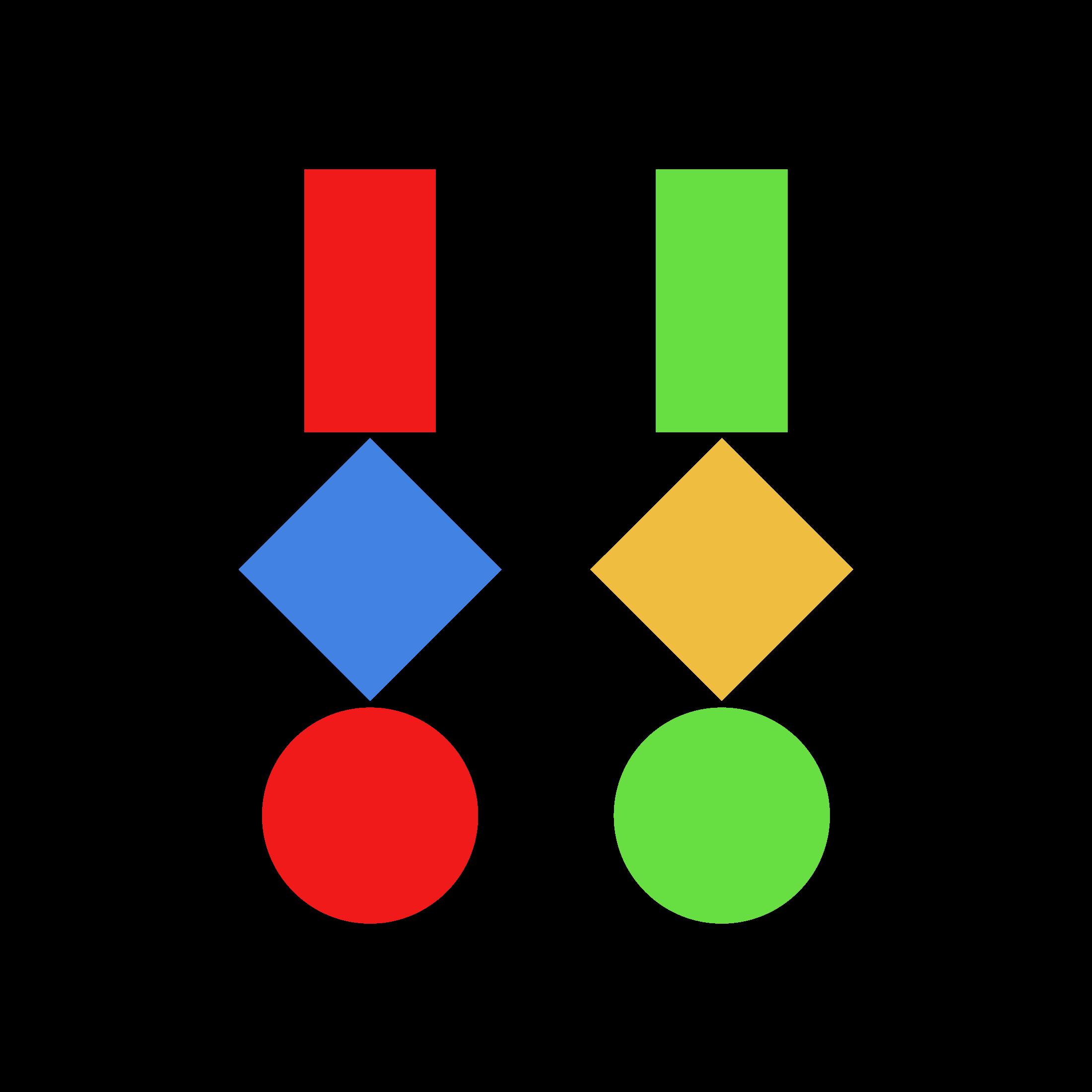 Drei geometrische Figuren · Farbmix 3