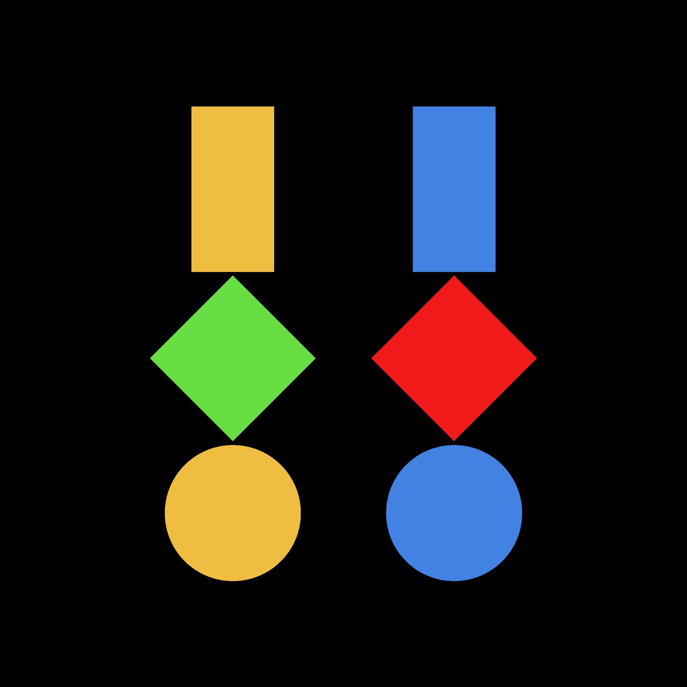 Drei geometrische Figuren · Farbmix 4