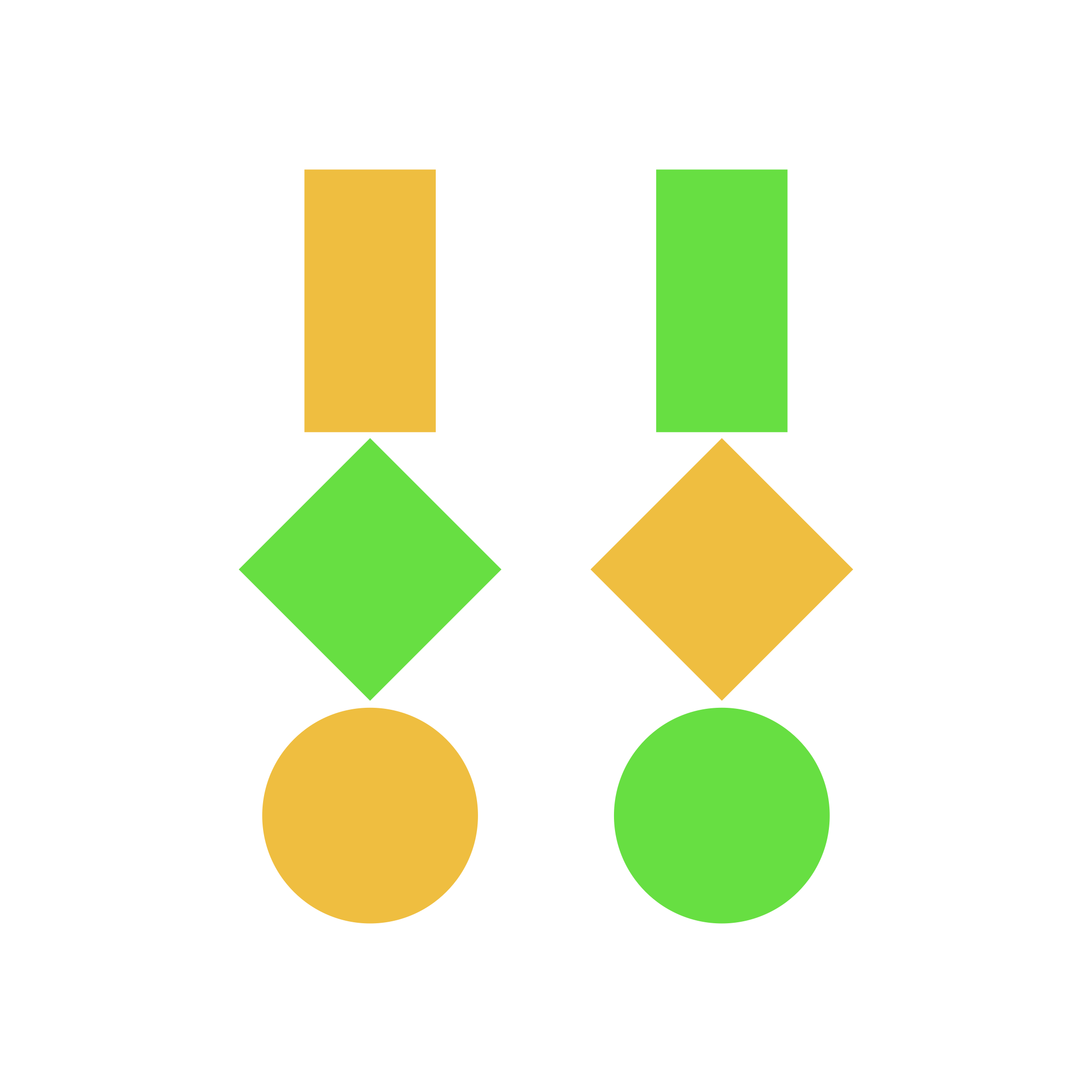 Drei geometrische Figuren · Gelb und Grün · Weißer Hintergrund