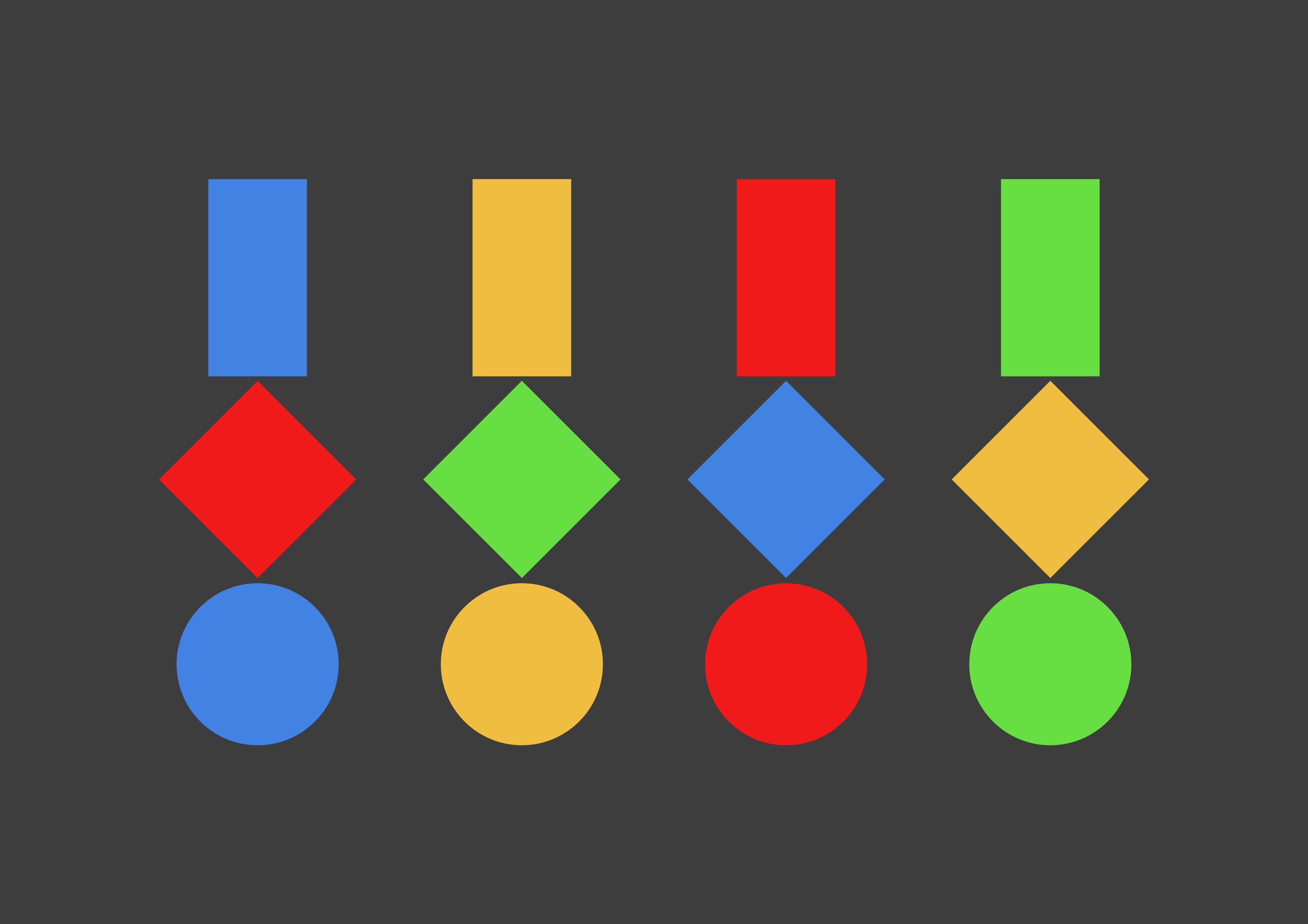 Drei geometrische Figuren · Mit vier Farben · Dunkler Hintergrund