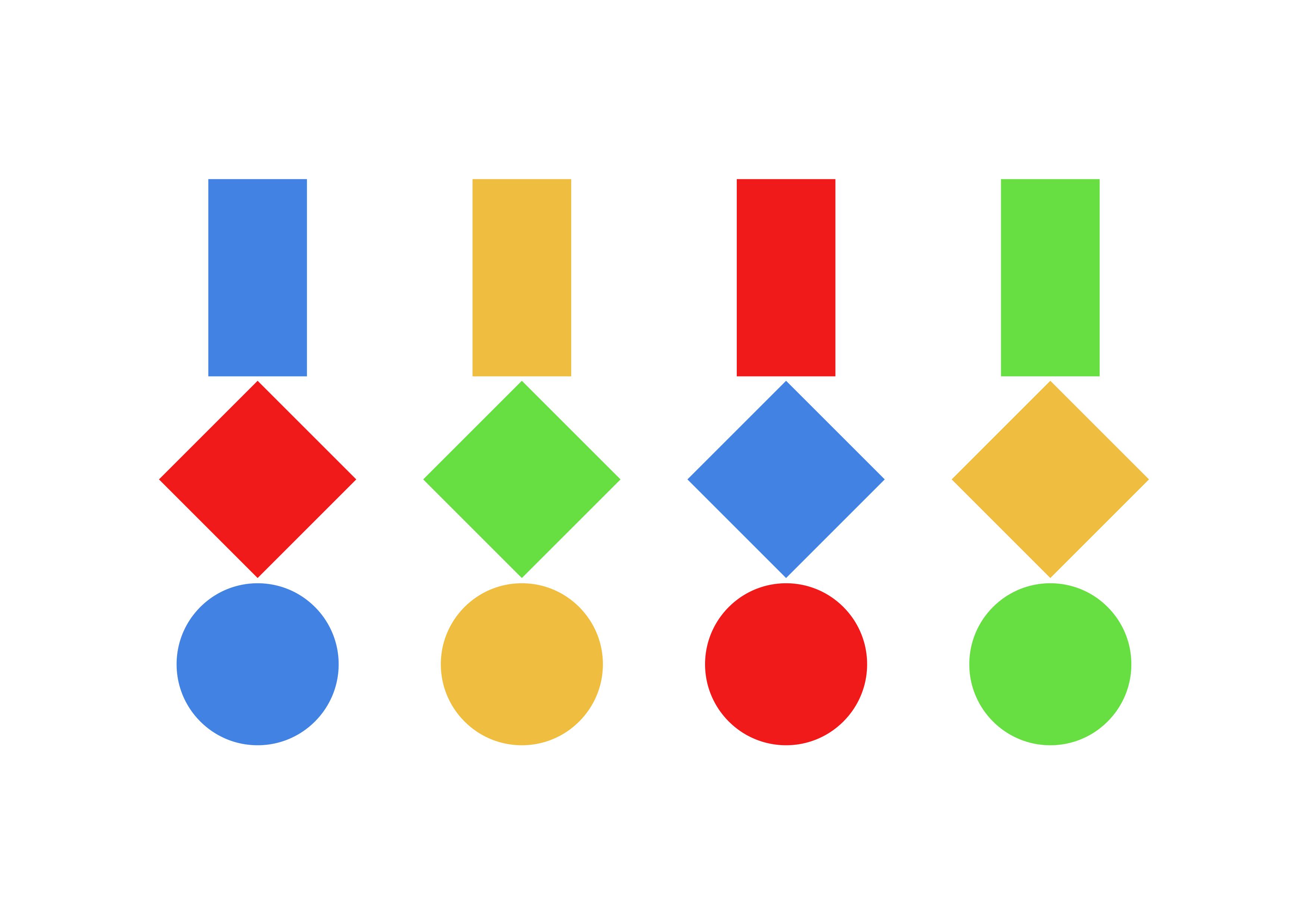 Drei geometrische Figuren · Mit vier Farben · Weißer Hintergrund