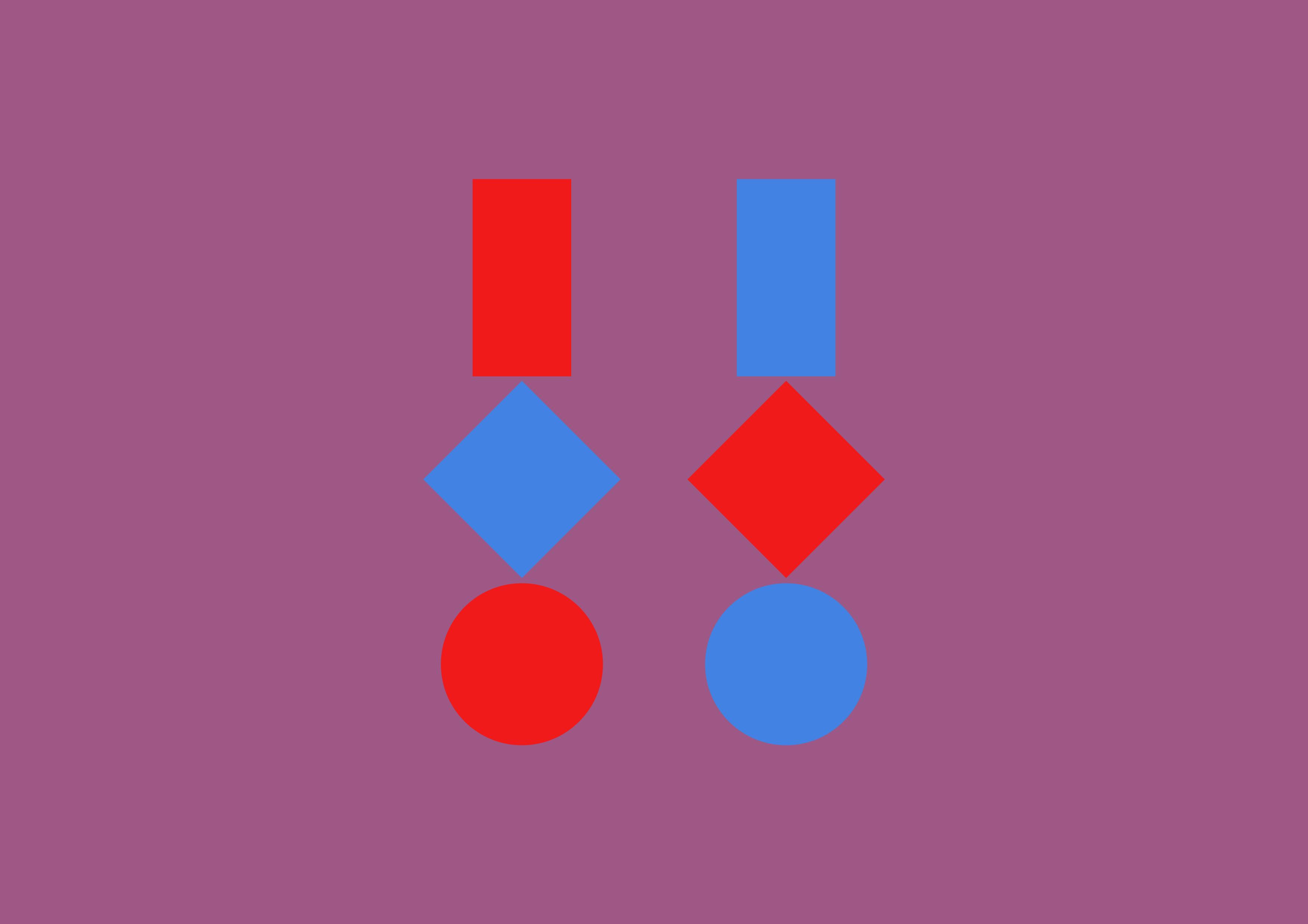 Drei geometrische Figuren · Rot und Blau · Mischfarbe als Hintergrund