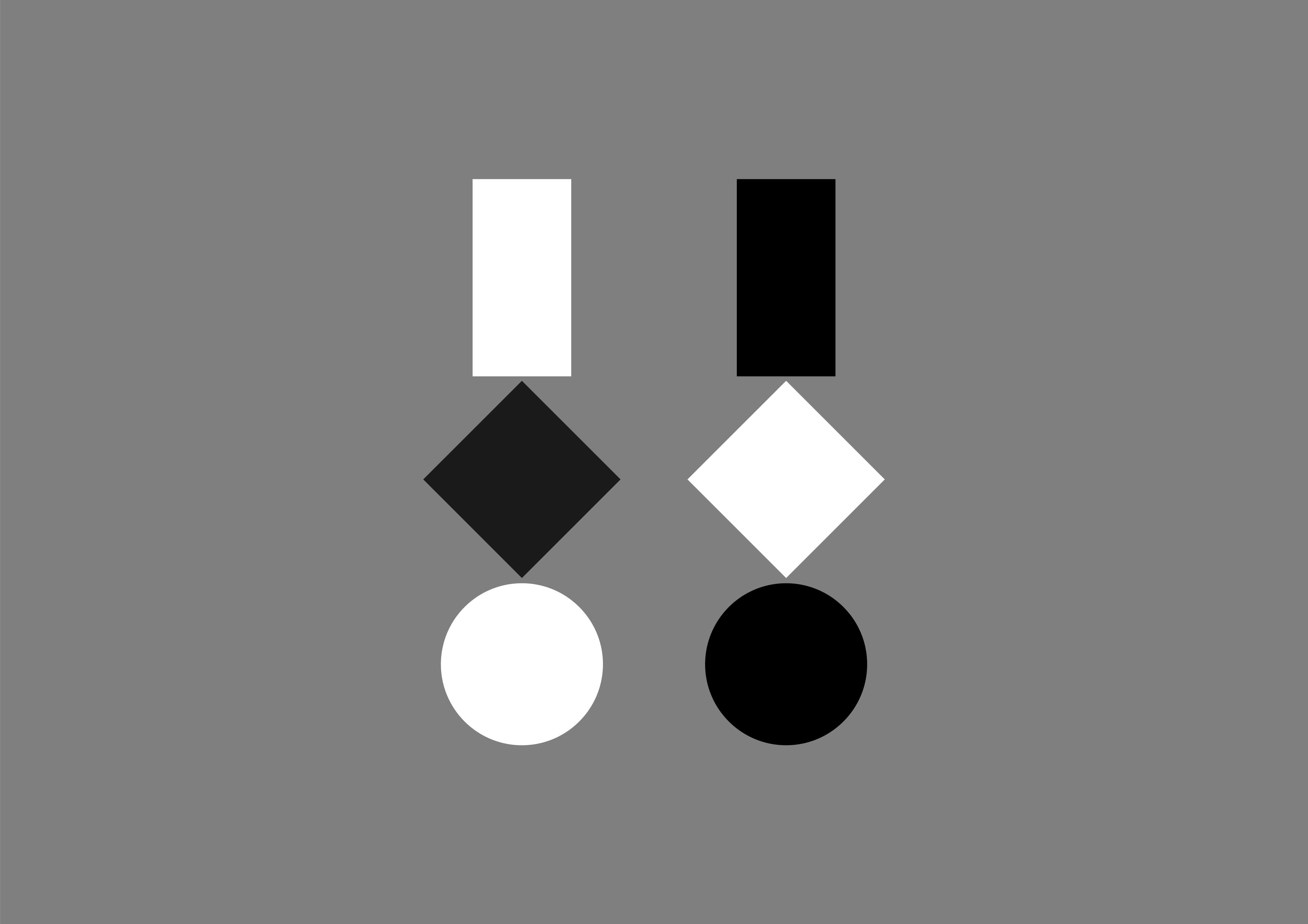 Drei geometrische Figuren · Weiß und Schwarz · Grauer Hintergrund