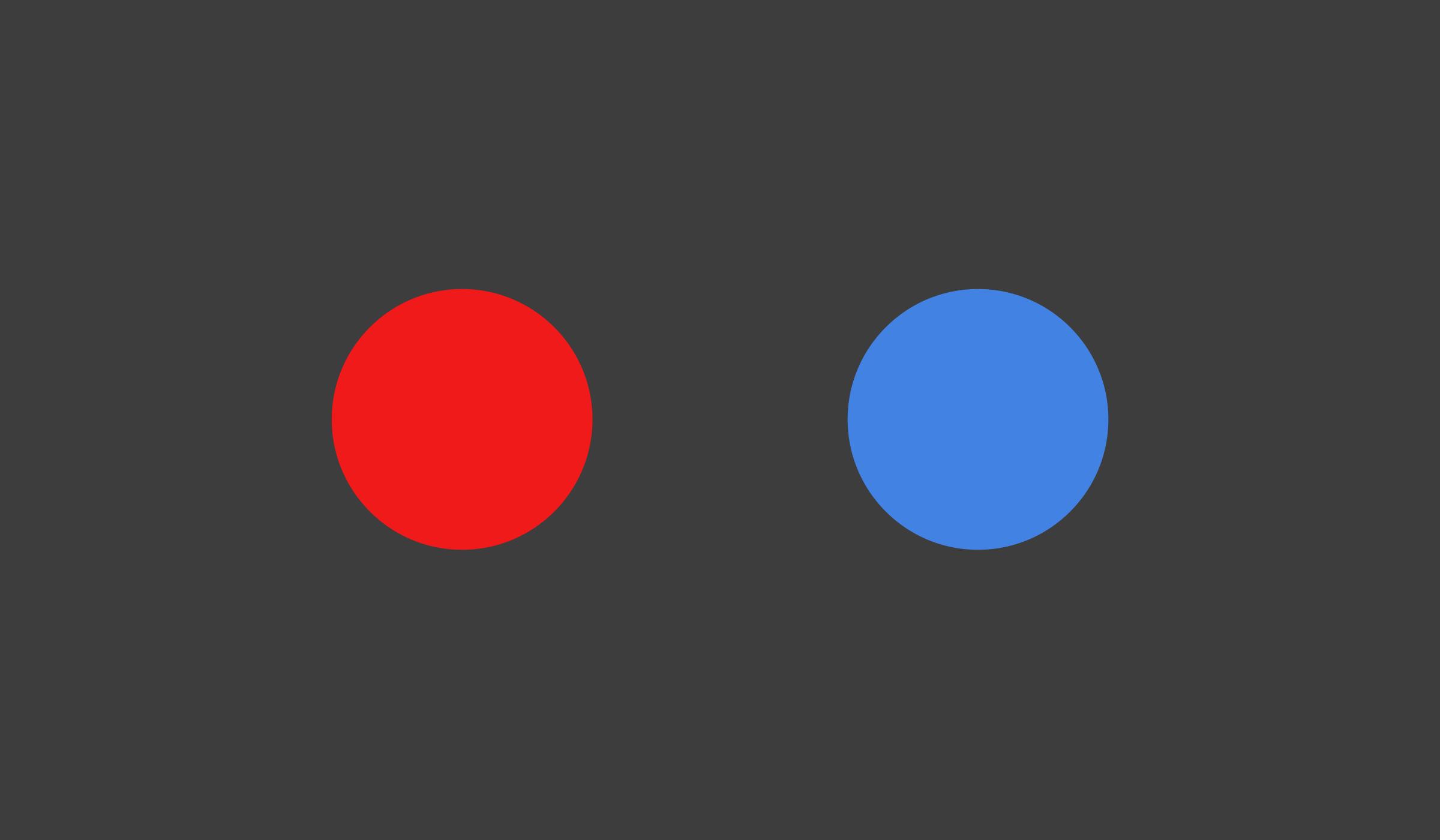 Zwei Kreise · Rot und Blau · Dunkler Hintergrund