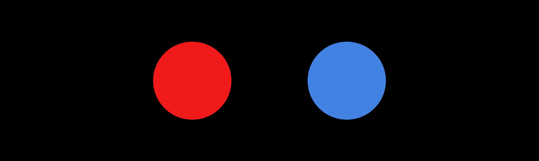 Zwei Kreise · Rot und Blau · Transparenter Hintergrund