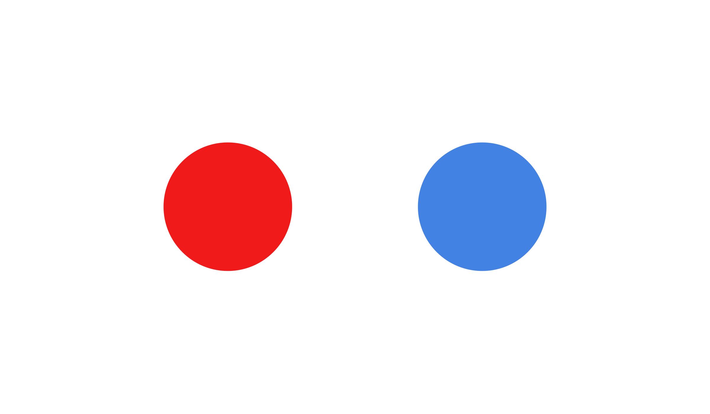 Zwei Kreise · Rot und Blau · Weißer Hintergrund