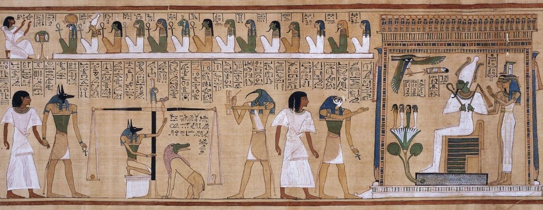 Zweidimensionale Zeichnung · The judgement of the dead in the presence of Osiris · Ägyptisches Totenbuch