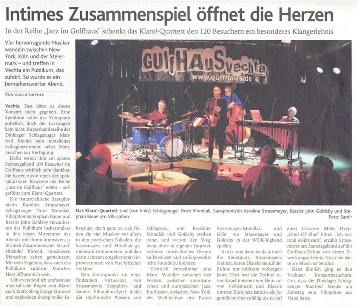 Jazz im Gulfhaus // KLARO-Quartett mit David Friedman // OV-Artikel vom 16.02.2016