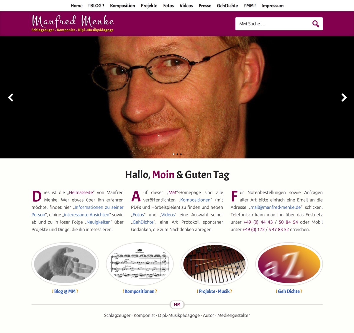 Manfred Menke · Homepage im Mai 2017