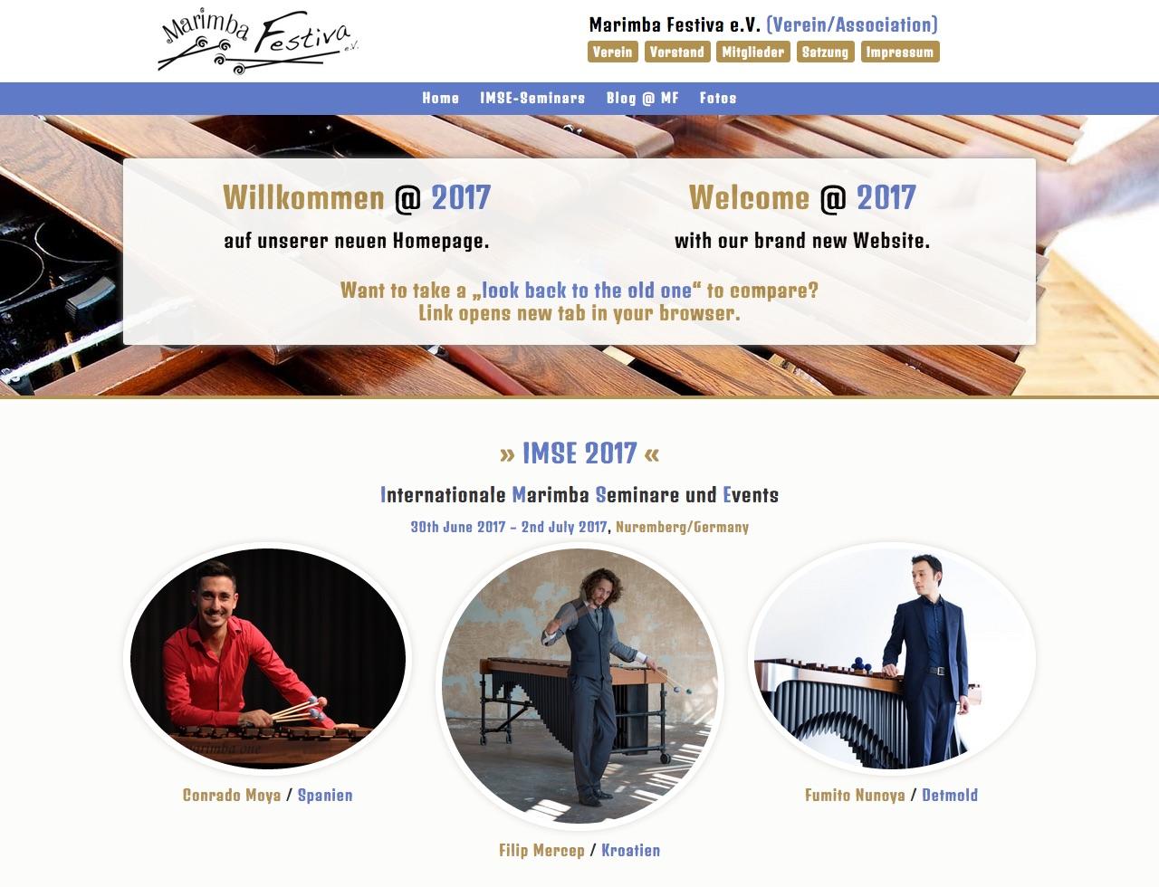 Neue Homepage · Marimba-Festiva e.V. (Januar 2017)
