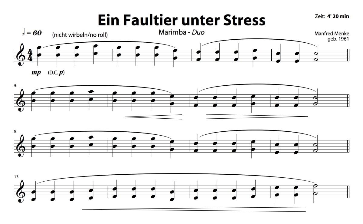 Marimba-Duo: Ein Faultier unter Stress (Spieler 1)