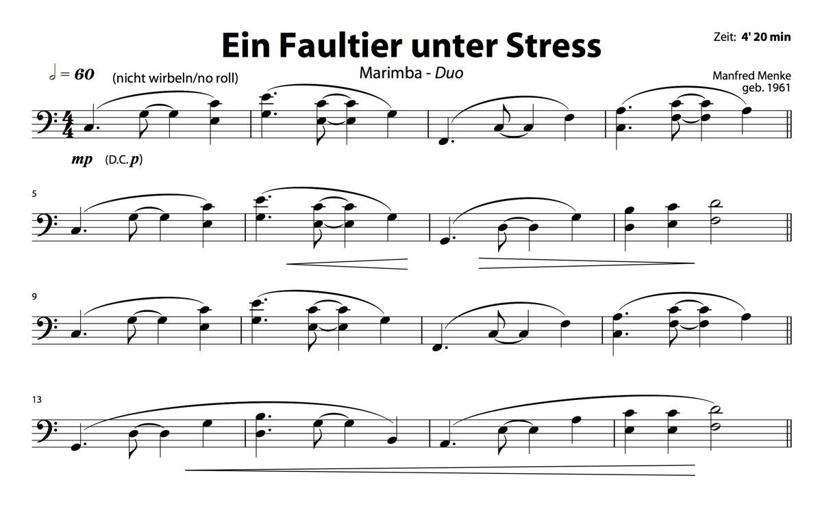 Marimba-Duo: Ein Faultier unter Stress (Spieler 2)