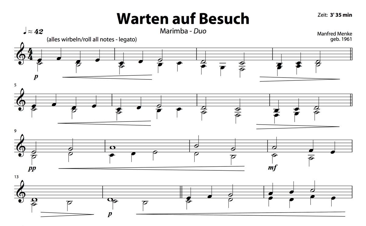 Marimba-Duo: Warten auf Besuch (Spieler 1)
