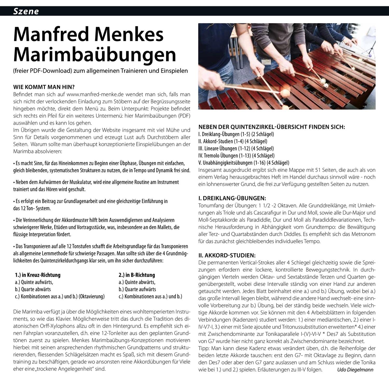 Artikel über die Marimba-Übungen im Offbeat 1/2018