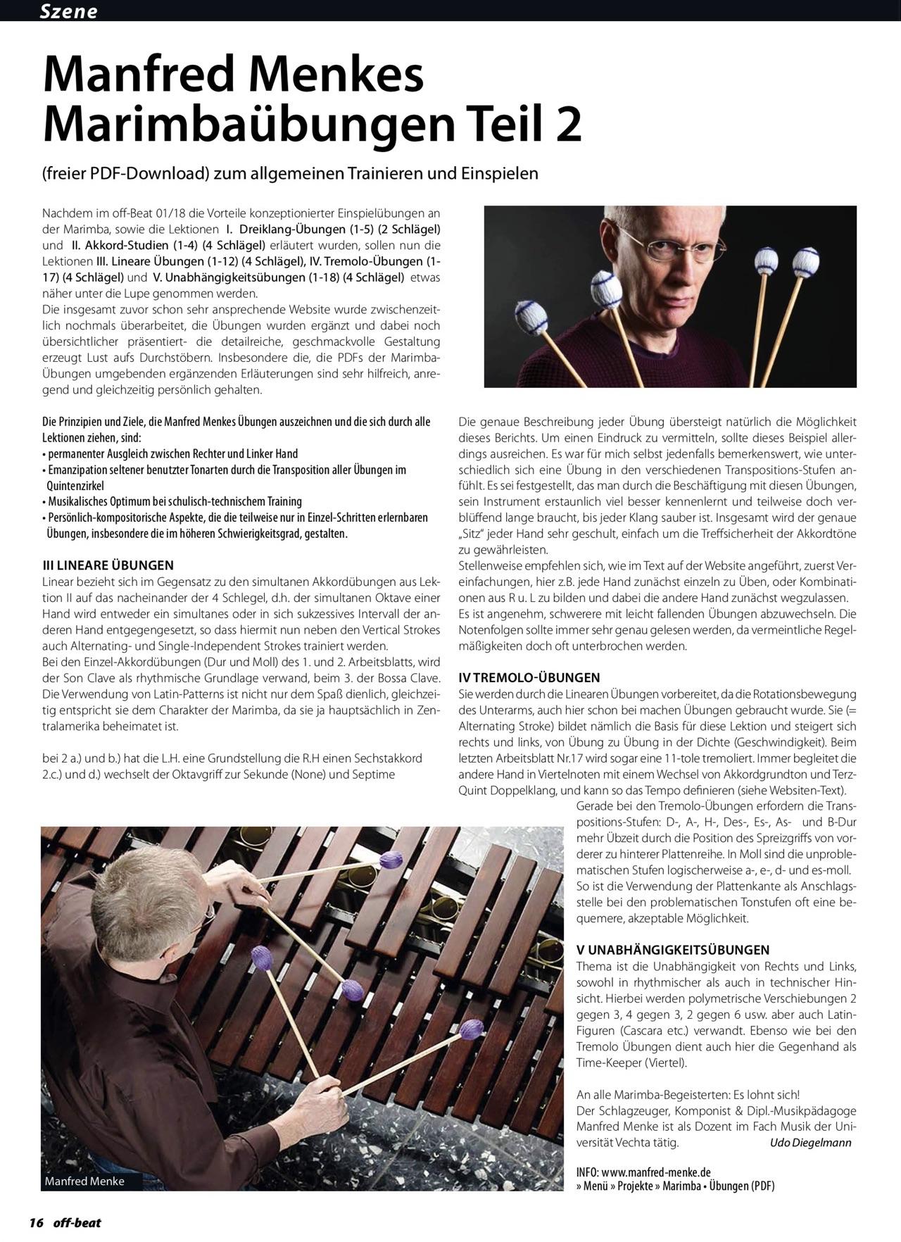 Artikel (2. Teil) über die Marimba-Übungen im Offbeat 3/4 2018