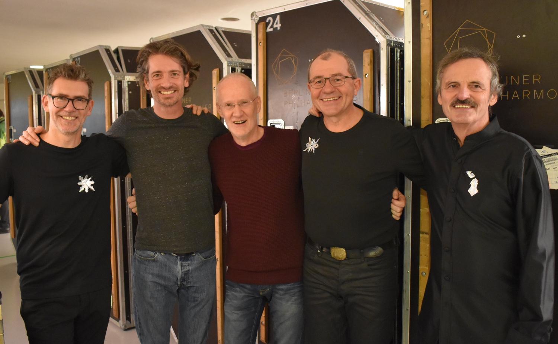 Vier Schlagzeuger der Berliner Philharmoniker mit Manfred Menke