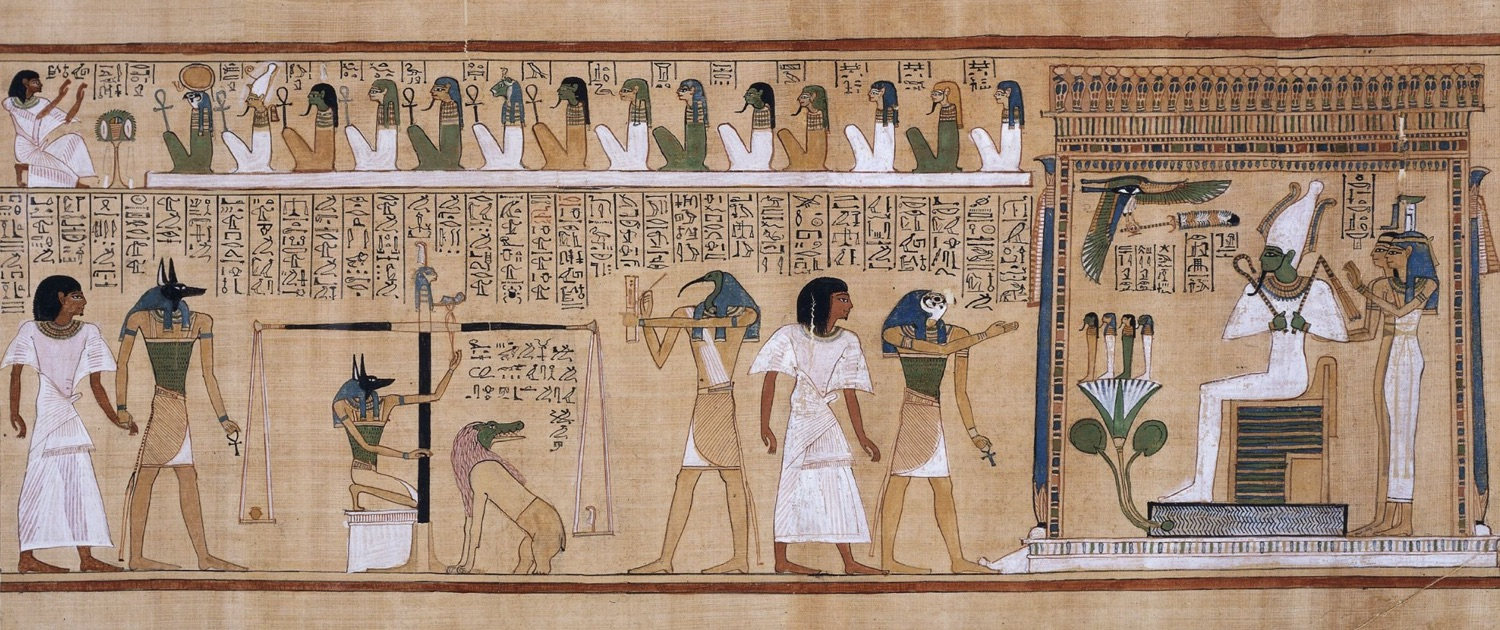 Zweidimensionale Zeichnung · The judgement of the dead in the presence of Osiris · Ägyptisches Totenbuch