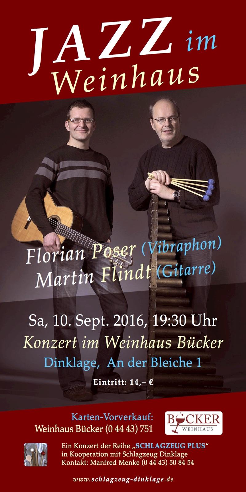 Flyer // JAZZ im Weinhaus // Martin Flindt (Gitarre) und Florian Poser (Vibraphon)