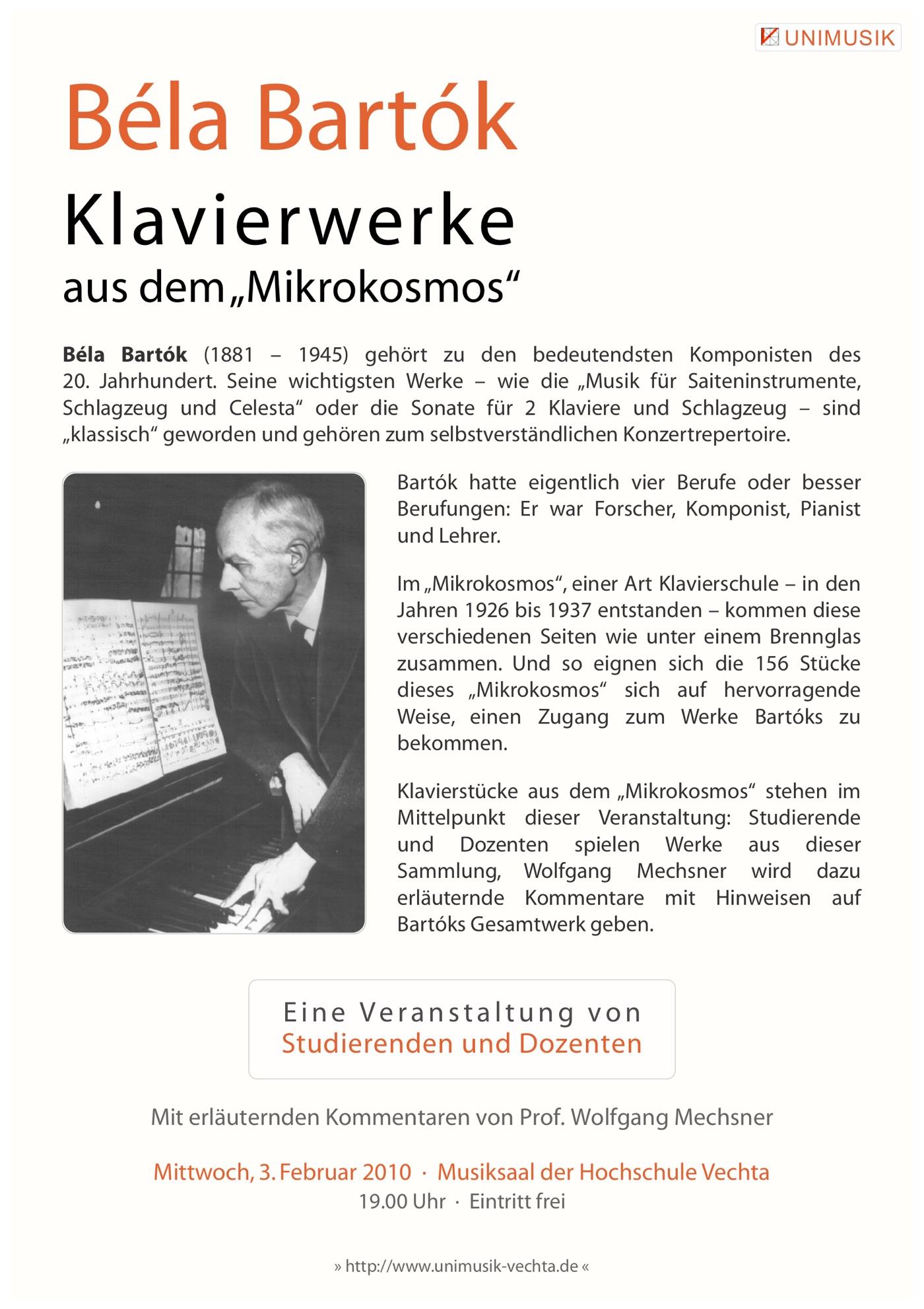 Flyer · Bela Bartok · UNIMUSIK