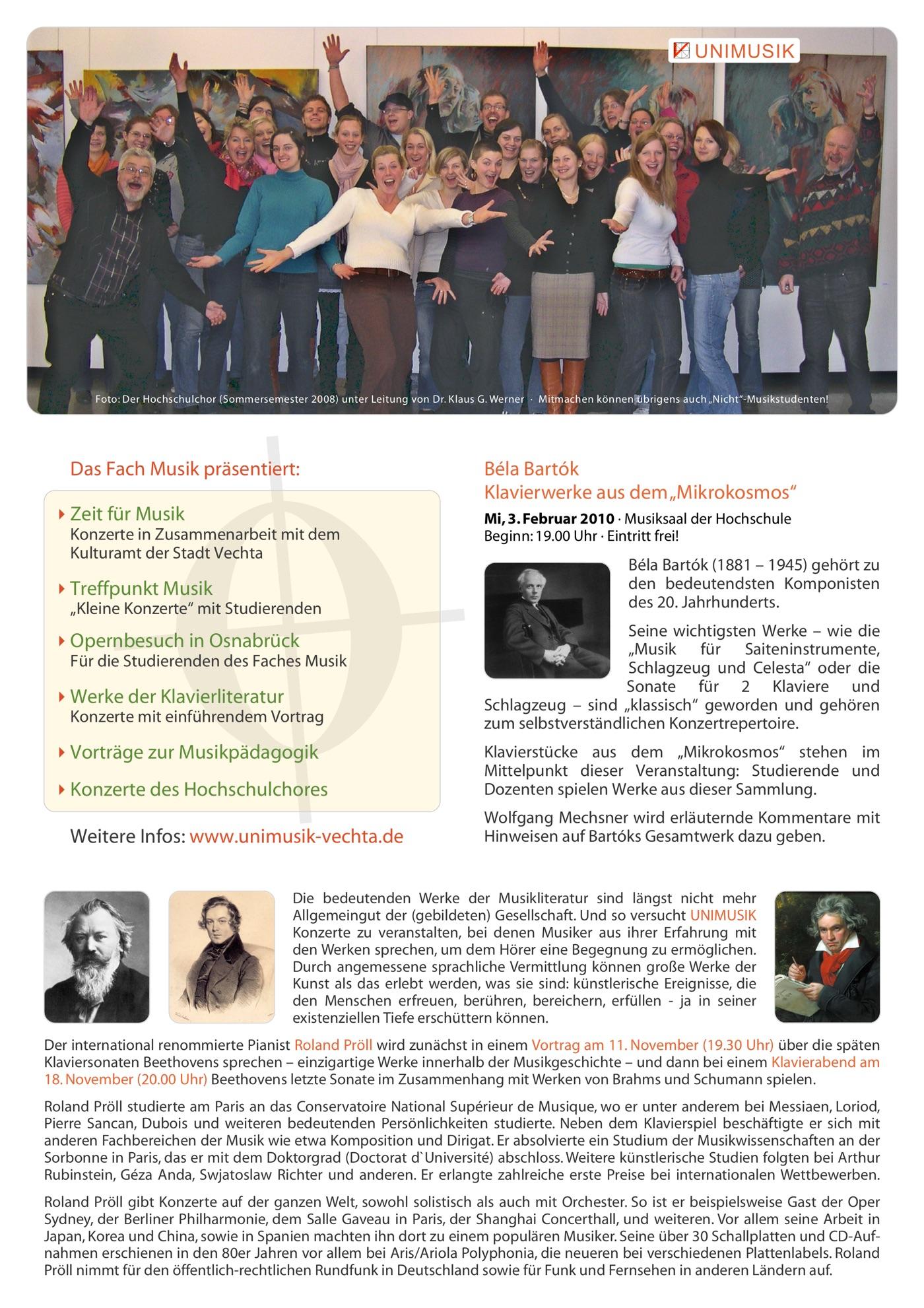 Flyer Winter 2009/10 · UNIMUSIK