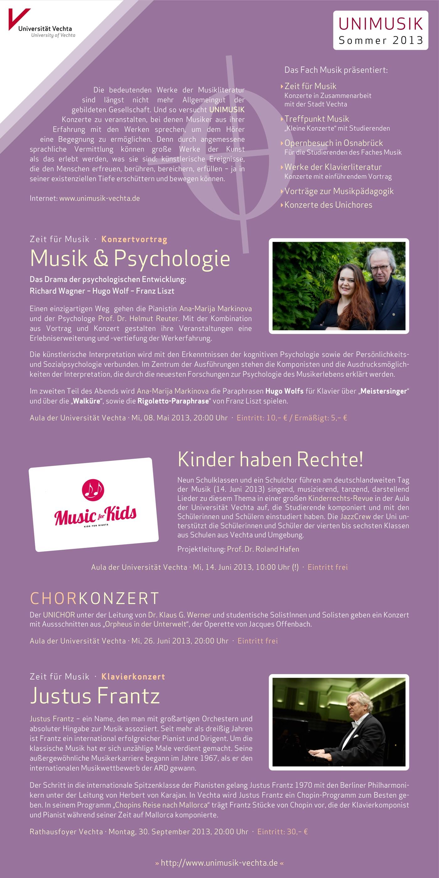 Flyer (Rückseite) und Plakat · UNIMUSIK · Sommer 2013