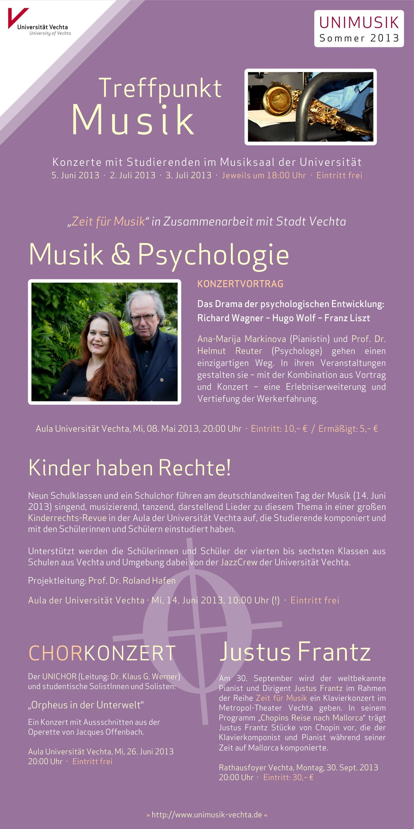 Flyer (Vorderseite) und Plakat · UNIMUSIK · Sommer 2013