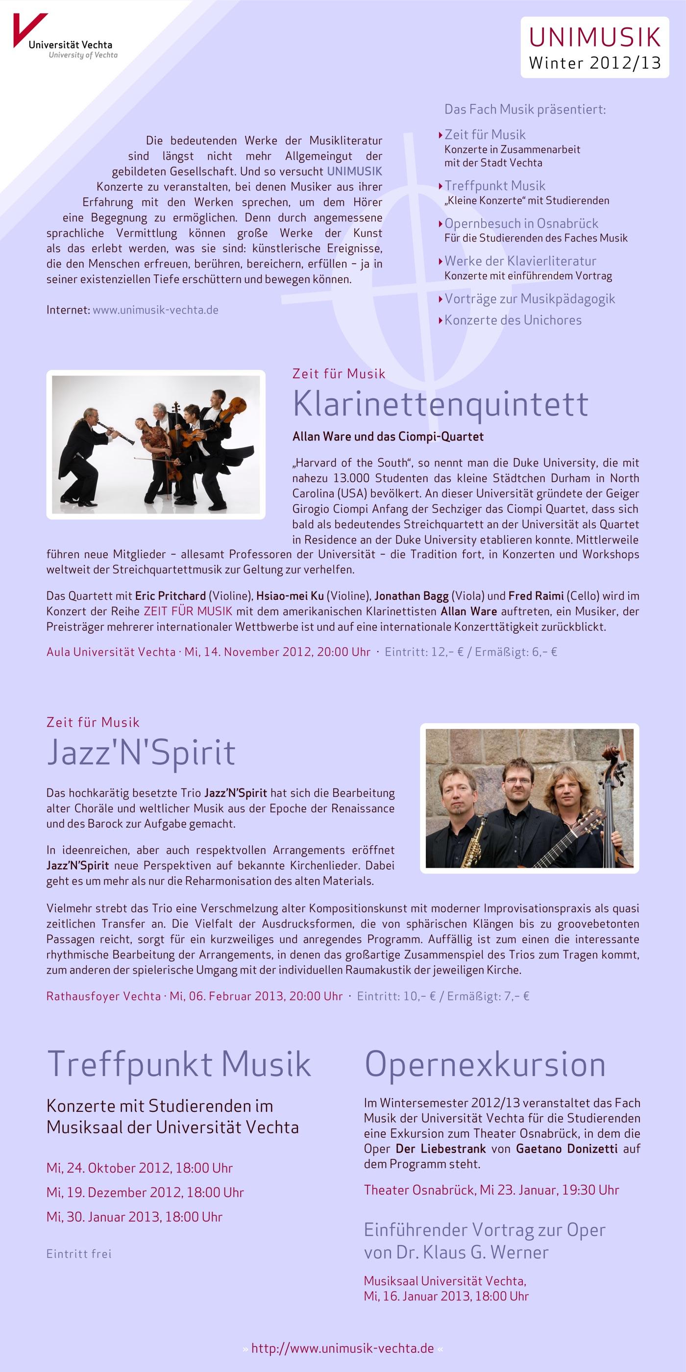 Flyer (Rückseite) und Plakat · UNIMUSIK · Winter 2012/13
