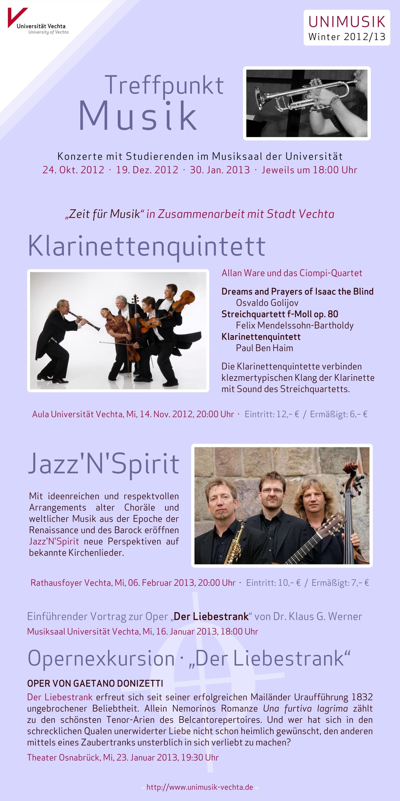Flyer (Vorderseite) und Plakat · UNIMUSIK · Winter 2012/13