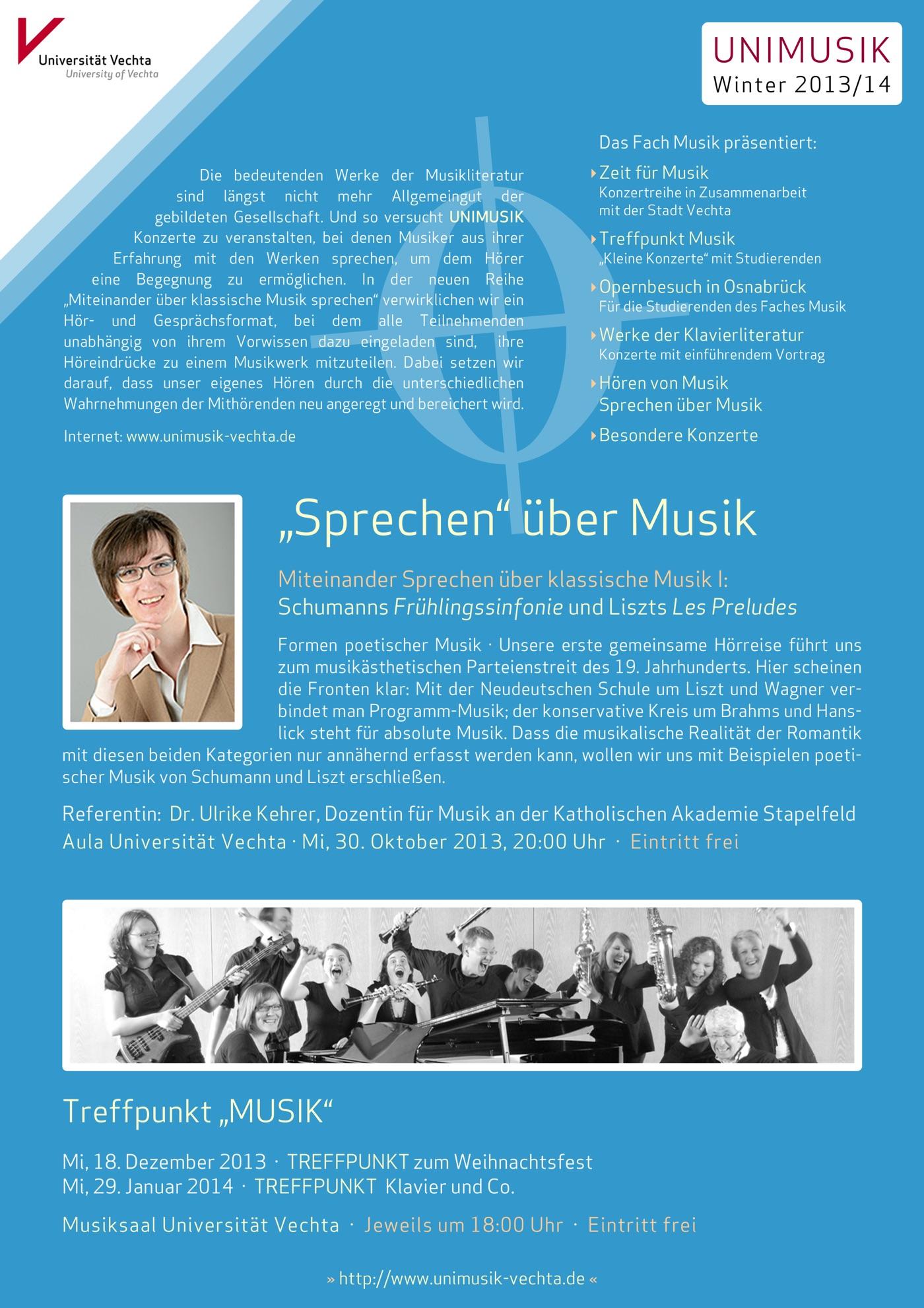 Flyer (Rückseite) und Plakat · UNIMUSIK · Winter 2013/14