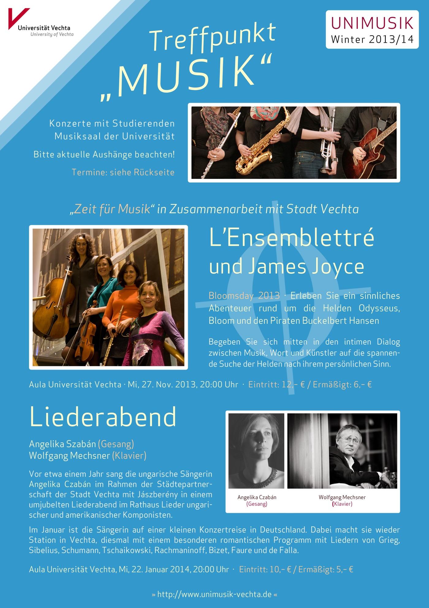 Flyer (Vorderseite) und Plakat · UNIMUSIK · Winter 2013/14