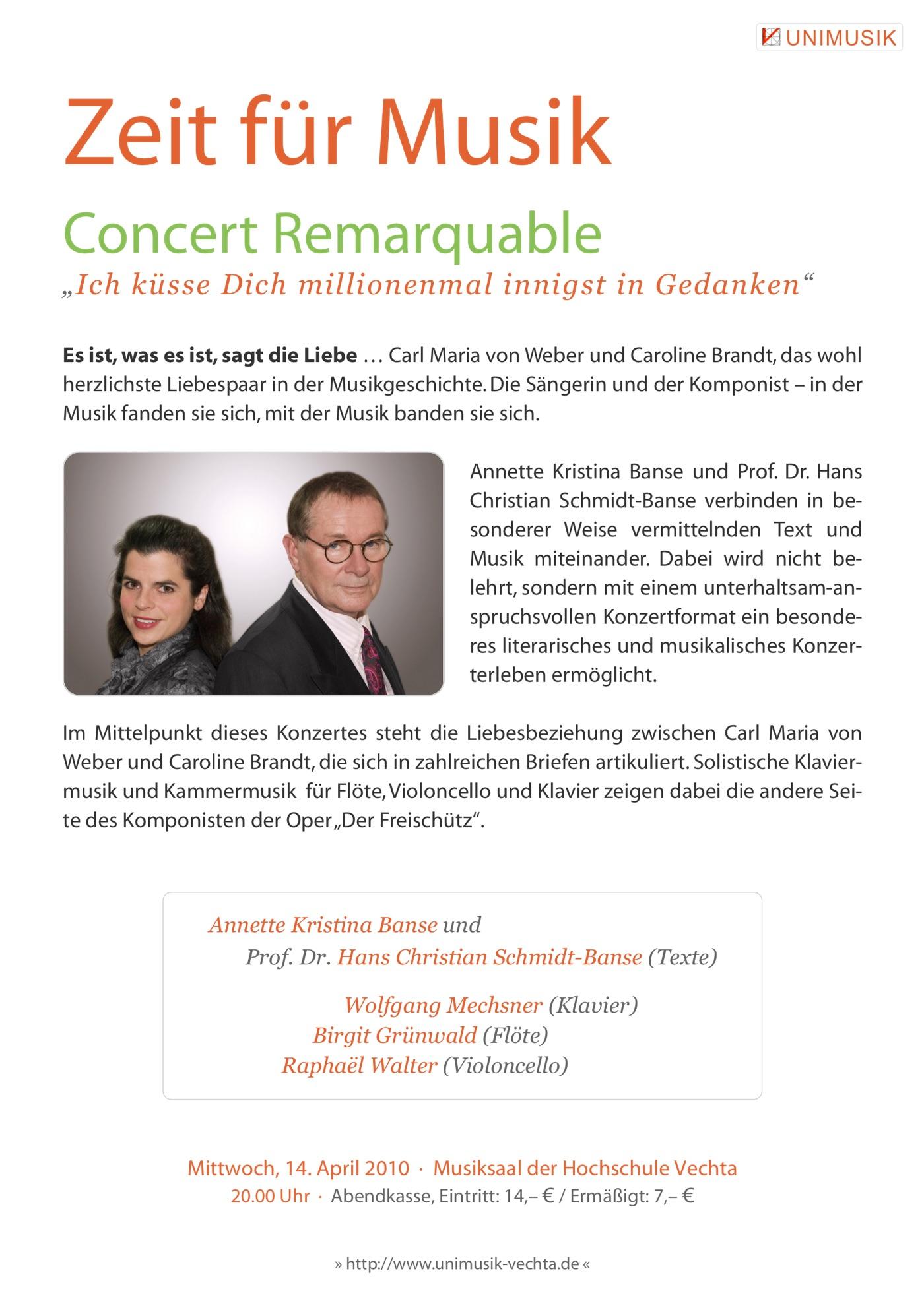 Flyer · Concert Remarquable · Zeit für Musik