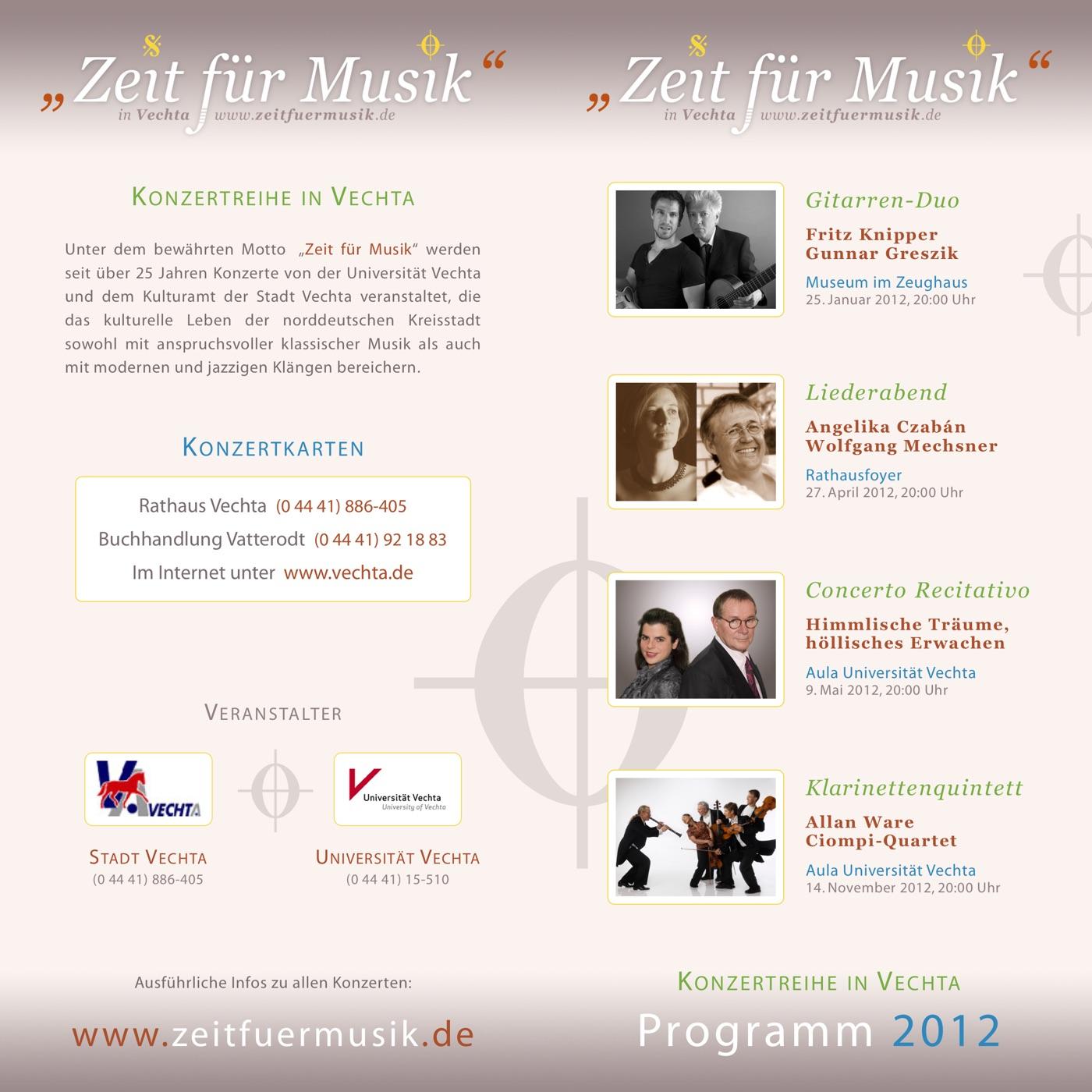Flyer 2012 · Zeit für Musik