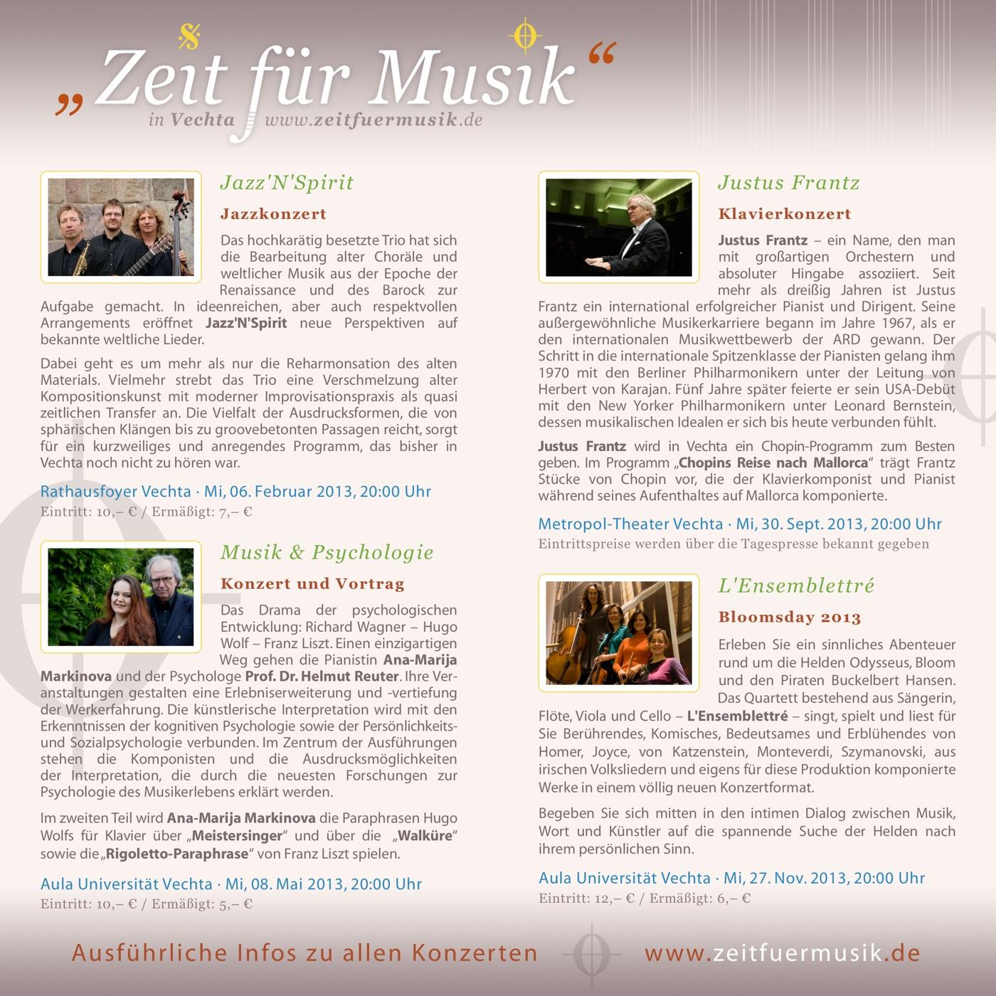 Flyer 2013 · Zeit für Musik