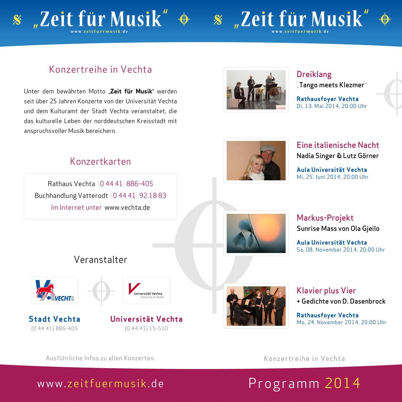 Flyer 2014 · Zeit für Musik