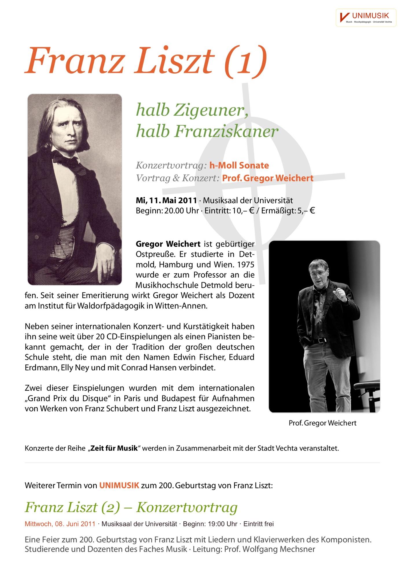 Flyer · Franz Liszt · Zeit für Musik