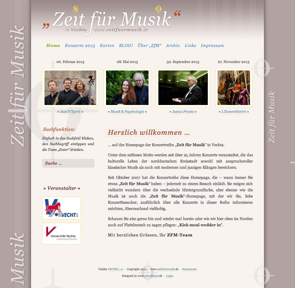 Alte Homepage · Zeit für Musik