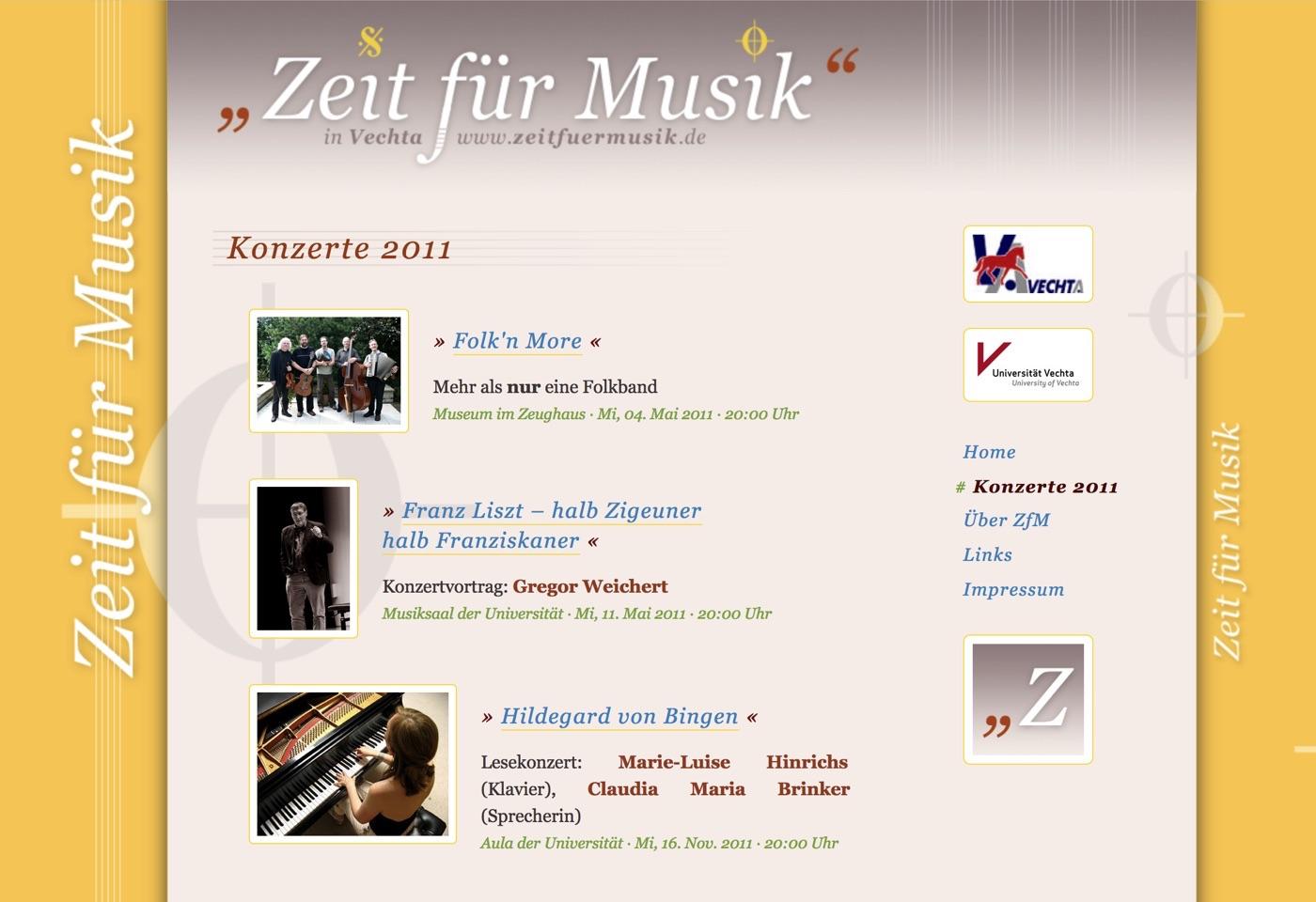 Homepage 2011 · Zeit für Musik