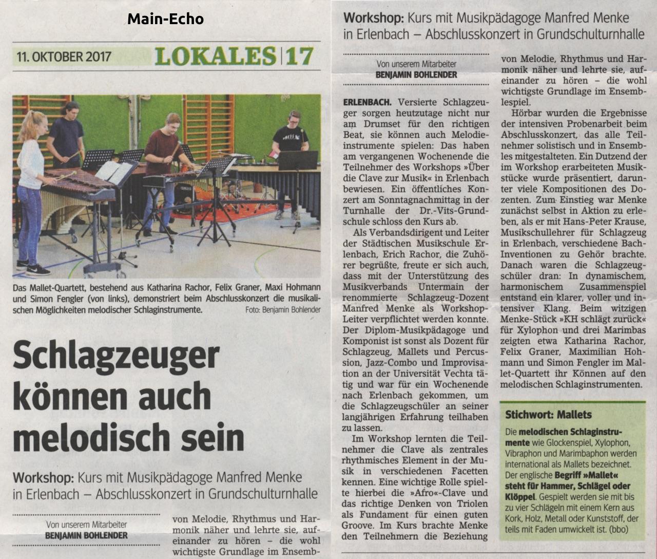 Zeitungsartikel · Main Echo, 11. Oktober 2017