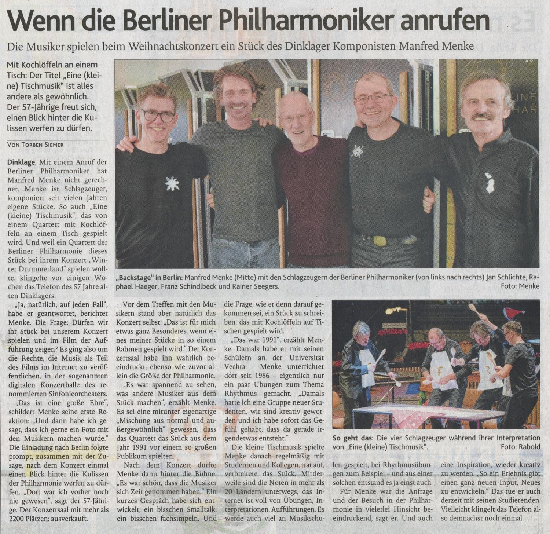 Zeitungsartikel · Oldenburgische Volkszeitung, 27. Dezember 2018