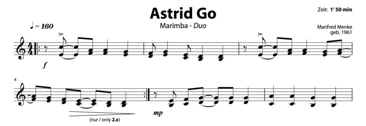 Einzelstimmen zum Heft Marimba-Musik